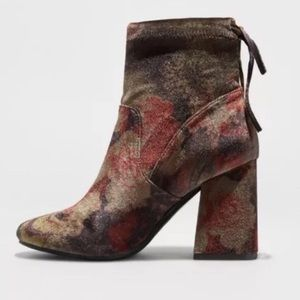 A New Day floral stretch velvet boots